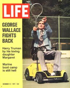 George Wallace in Wheelchair, About to Hit Tennis Ball, November 24, 1972 by Bill Eppridge
