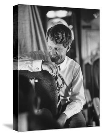 Senator Robert F. Kennedy Aboard Plane Traveling to Campaign For Local Democrats