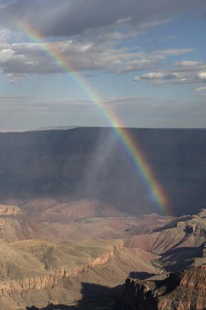 A Rainbow and Rain Storm on the North Rim in Grand Canyon National Park, Arizona