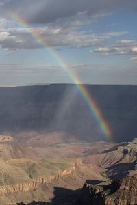 A Rainbow and Rain Storm on the North Rim in Grand Canyon National Park, Arizona by Bill Hatcher