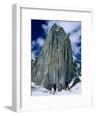 Expedition Members Hike Along Trango Glacier