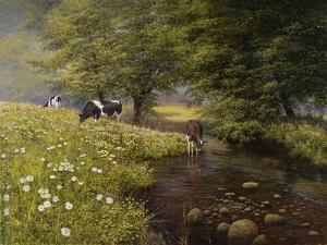 Cattle By The Stream by Bill Makinson