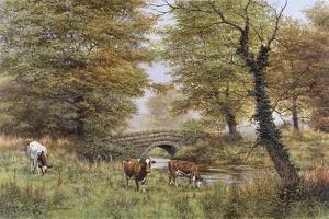 Cows By Bridge by Bill Makinson