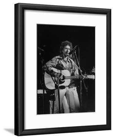 Bob Dylan during Rock Concert at Madison Square Garden