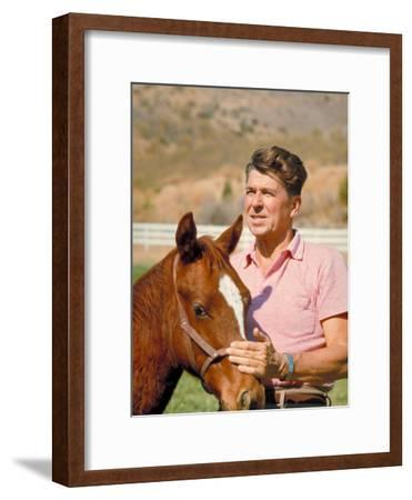 California Governor Candidate Ronald Reagan Petting Horse at Home on Ranch