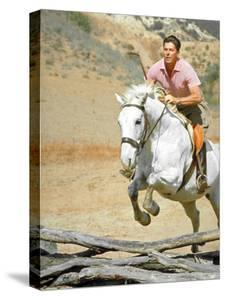 California Governor Candidate Ronald Reagan Riding Horse at Home on Ranch by Bill Ray
