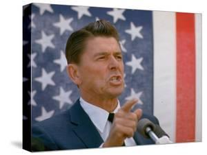 California Gubernatorial Candidate Ronald Reagan Speaking in Front of American Flag Backdrop by Bill Ray