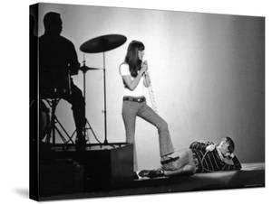 """Entertainers Cher and Sonny Bono Singing on TV Program """"Shindig."""" by Bill Ray"""