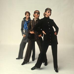 Female Models Wearing Pants Suit Fashions Designed by Yves Saint Laurent by Bill Ray