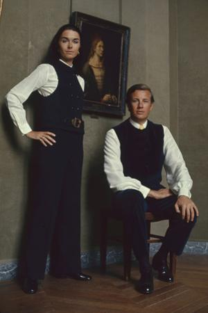 French Fashion Designer Bernard Lanvin and His Wife, Meryl, Louvre, Paris, France, 1968