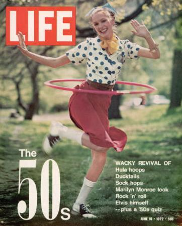 Girl using Hula Hoop, Revival of Fashions and Fads of the 1950's, June 16, 1972
