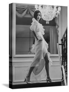 Model Prunelia Wearing a Marc Bohan Evening Dress by Bill Ray