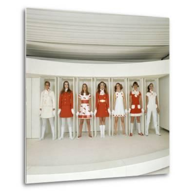 Models Wearing Red and White Ready-To-Wear Fashions Designed by Andre Courreges, 1968
