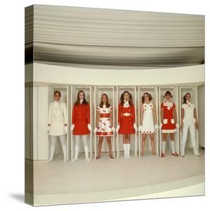Models Wearing Red and White Ready to Wear Fashions Designed by Andre Courreges by Bill Ray