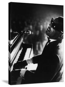 Ray Charles Playing Piano in Concert by Bill Ray