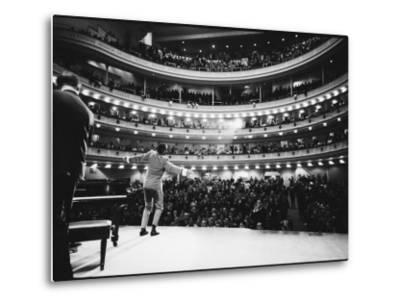 Ray Charles Singing, with Arms Outstretched, During Performance at Carnegie Hall by Bill Ray