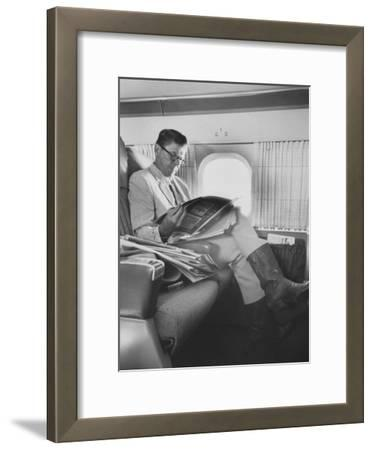 Ronald W. Reagan, Candidate for Governor of California, Traveling on Plane to Campaign in San Jose