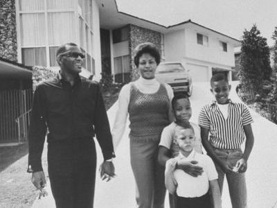 Singer Ray Charles Posing with Wife and their Three Young Sons