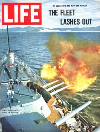 The Fleet Lashes Out, Bill Ray of USS Oklahoma Shelling the Viet Cong Off Vietnam, August 6, 1965
