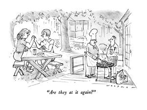 """""""Are they at it again?"""" - New Yorker Cartoon by Bill Woodman"""