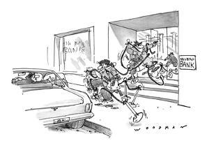 Bank robbers rushing to get-away car are tangled in ropes and posts banks ? - New Yorker Cartoon by Bill Woodman