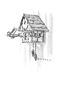 Cuckoo clock strikes the hour: Swiss army knife springs out  instead of a ? - New Yorker Cartoon by Bill Woodman