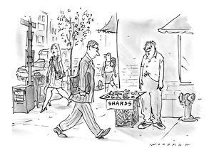 Disheveled man stands on street corner selling fragments of some sort labe? - New Yorker Cartoon by Bill Woodman