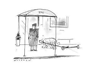 Dog dragging parking meter. - New Yorker Cartoon by Bill Woodman