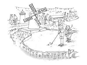 Don Quixote, with Sancho Panza in attendance, prepares to putt through a w? - New Yorker Cartoon by Bill Woodman