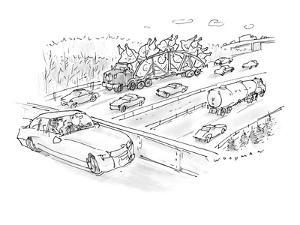 Driver on overpass looking at tractor trailer filled with giant turkeys re? - New Yorker Cartoon by Bill Woodman