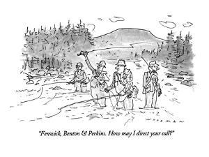 """Fenwick, Benton & Perkins. How may I direct your call?"" - New Yorker Cartoon by Bill Woodman"