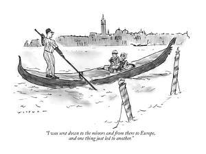 """""""I was sent down to the minors and from there to Europe, and one thing jus?"""" - New Yorker Cartoon by Bill Woodman"""