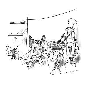 In the middle of an orchestra stands a chef tossing salad in a bowl. - New Yorker Cartoon by Bill Woodman