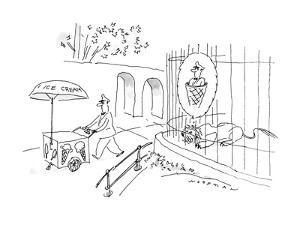 Lion thinking of Ice Cream Man in ice cream cone. - New Yorker Cartoon by Bill Woodman
