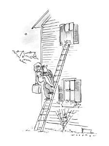 Man carrying woman down ladder to elope, sees teddy bear waving goodbye. - New Yorker Cartoon by Bill Woodman