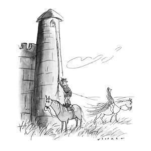 Man from Middle Ages pauses to watch Lady Godiva ride by as he is about to? - New Yorker Cartoon by Bill Woodman