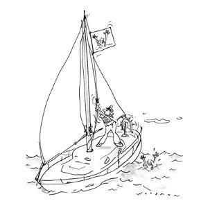 Man in boat raises drowing woman flag. - New Yorker Cartoon by Bill Woodman