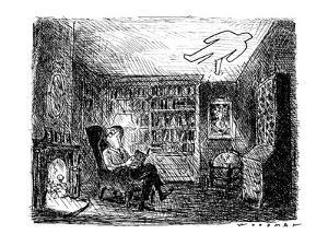 Man reading a book with a man-shaped hole being sawed in his ceiling. - New Yorker Cartoon by Bill Woodman