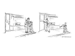 """Man sees """"No Smoking"""" sign in window of store in panel one, as he ties up ? - New Yorker Cartoon by Bill Woodman"""