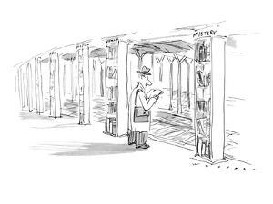 "Man standing on subway platform. Each pillar is a shelf of books labeled ""? - New Yorker Cartoon by Bill Woodman"
