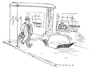 Man walks by establishment with sign in window that reads: 'All Baking Don… - New Yorker Cartoon by Bill Woodman