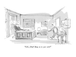 """""""O.K., Chief!  Hang on to your socks!"""" - New Yorker Cartoon by Bill Woodman"""
