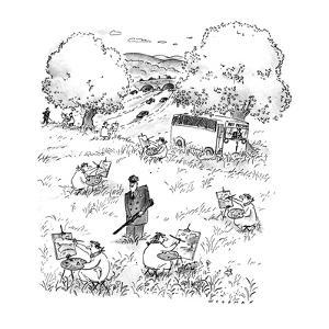 Prisoners in a field painting with guard in the center of them. Bus in the? - New Yorker Cartoon by Bill Woodman