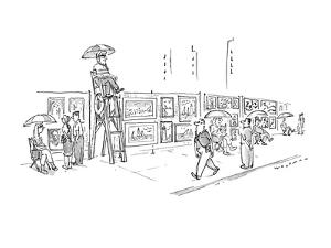 Sidewalk artists sit in chairs next to their works.  One sits in a lifegua? - New Yorker Cartoon by Bill Woodman