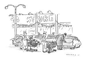 Store clerks wheeling out shopping carts to man opening his car trunk.  On? - New Yorker Cartoon by Bill Woodman