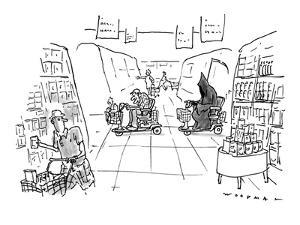 The Grim Reaper, chasing an elderly man, both in a motorized cart, through? - New Yorker Cartoon by Bill Woodman