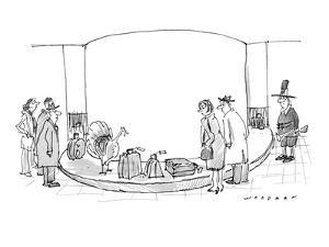 Travelers at an airport seem surprised when they see a turkey coming throu? - New Yorker Cartoon by Bill Woodman