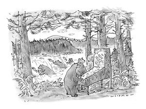 Two bears play a salmon-run-themed pinball machine outdoors in the woods, ? - New Yorker Cartoon by Bill Woodman
