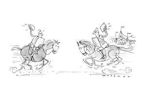 Two knight son horses riding towards eachother with pies rather than joust? - New Yorker Cartoon by Bill Woodman