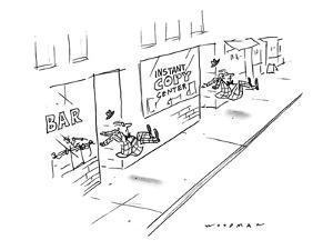 Two men being kicked out of stores, one is a bar, the other an 'Instant Co? - New Yorker Cartoon by Bill Woodman